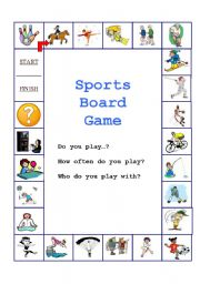 English Worksheet: Sports Board Game