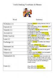 English worksheet: Useful Money and Banking Vocabulary
