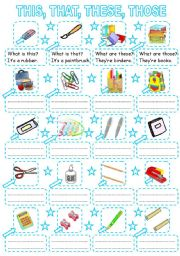 English Worksheets: THIS, THAT, THESE, THOSE - school