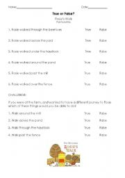 English Worksheets: Rosie�s Walk - True or False