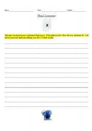 English worksheet: Halloween-Writing Prompt