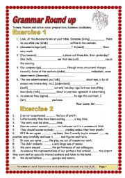 English Worksheets: 5 pages/ 5 exercises material Tenses, Prepositions, Business Vocabulary