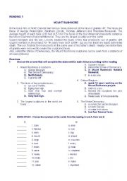 English worksheet: reading comprehension and vocabulary exercises