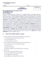 English worksheet: reading test tornado
