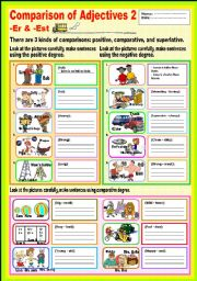 English Worksheet: Comparison of Adjectives 2 -er & -est