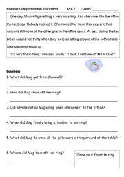English Worksheets: Reading Comprehension Worksheet (1)