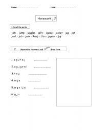 English Worksheets: Worksheet Jj