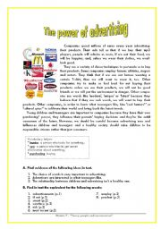 English Worksheet: The power of advertising