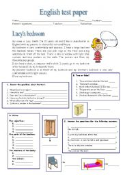 English Worksheet: Lucy�s bedroom and simple present  tense (3.11.09)
