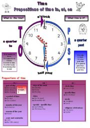 English Worksheet: Time + prepositions of time 3 pages