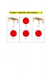 English worksheet: Tongue Twister for Kinder