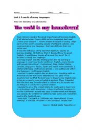 English Worksheets: The world is my hometown!
