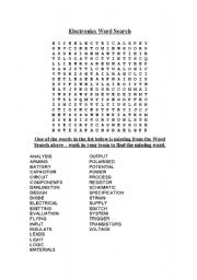 English worksheets: Design and Technology Electronics Word Search