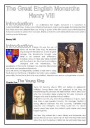 English Worksheets: Henry VIII - Extensive Reading comprehension (3 pages)
