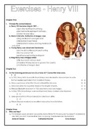 English Worksheets: Exercises Henry VIII (two pages)
