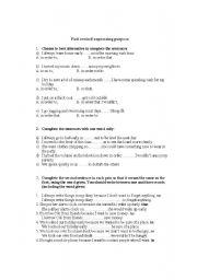 English Worksheet: fast rewind expressing purpose