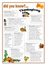 English Worksheets: thanksgiving facts