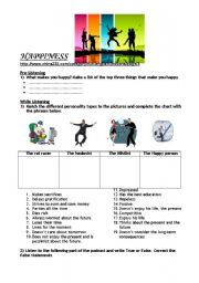 English Worksheets: Listening Comprehension - What makes you happy?