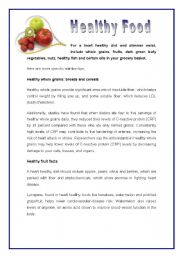 English Worksheet: Healthy food for a healthy heart