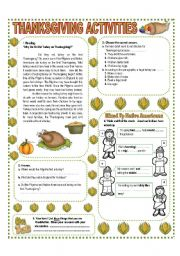 English Worksheet: NOVEMBER THEME:THANKSGIVING - ACTIVITIES WITH KEY - (2/3) - UPPER ELEMENTARY