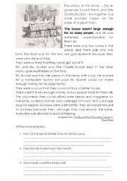 English Worksheet: Charlie and the Chocolate factory, the book, written comprehension