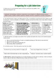 English Worksheets: Speaking: Preparing for a JOB interview (ADULTS + advanced pupils)