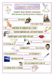 English Worksheet: Idiomatic expressions - TABLEWARE -