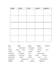 English Worksheets: Parts of Speech BINGO