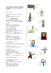 English Worksheet: Occupations! She�s not just a pretty face by Shania Twain