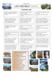 English Worksheet: Let�s talk about CHINA