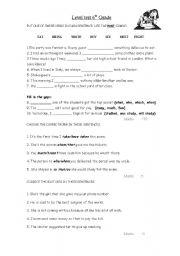 English worksheets: Grade 6 ESL level test