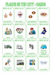 English Worksheet: PLACES IN THE CITY - GAME (2) CARDS