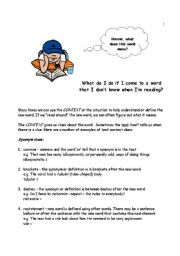 English Worksheet: Context Clues in Reading Comprehension