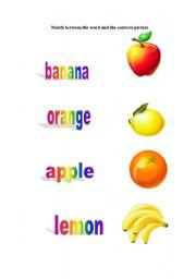 English worksheet: fruits word