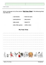 English Worksheets: my free t�me....