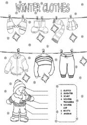 winter clothes worksheets. Black Bedroom Furniture Sets. Home Design Ideas