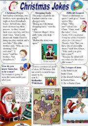 English Worksheets: Christmas Jokes (1/2)
