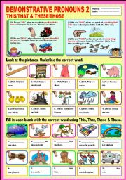 English Worksheet: Demonstrative Pronouns 2 This/That & These/Those