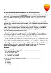 English Worksheets: ballon reading comprehension