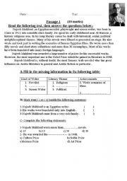 English Worksheets: Najeeb Mahfouz reading comprehension