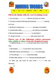 English Worksheets: joining words