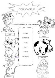 English Worksheet: Funny colouring with animals