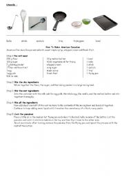 American pancakes recipe and matching exercise on utensils