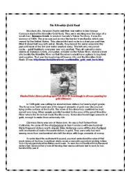 English Worksheet: The Klondike Gold Rush: 3rd Pre-Reading for The Call of The Wild