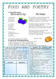 English Worksheets: FOOD AND POETRY
