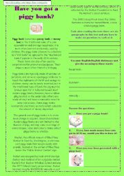 English Worksheets: PIGGY BANK