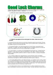 English Worksheets: GOOD LUCK CHARMS