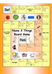 English Worksheet: Board Game - Name 3 things (Easy)