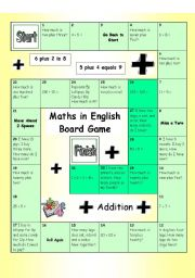 Board Game - Maths in English (Addition - Easy)