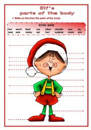 English Worksheets: Christmas - Elf�s - Parts of the Body